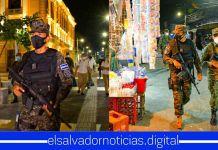 Ministro Monroy junto a elementos de la Fuerza Armada, patrullan el Centro Histórico de San Salvador, brindando seguridad a la nación