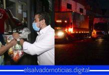 Ministro Romeo Rodríguez junto a su equipo llevan canastas alimentarias a familias del municipio de Chalchuapa