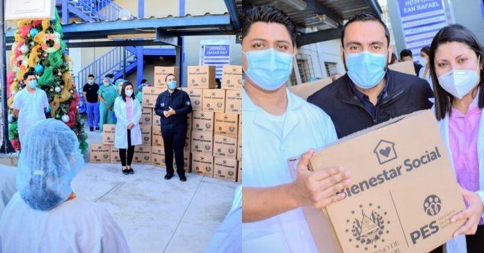 Médicos que combaten el COVID-19 en Hospital San Rafael reciben paquetes alimentarios por parte del Gobierno de Bukele