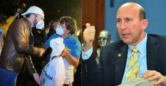 Javier Simán critica al Presidente Bukele de dar paquetes dignos repletos con alimentos a las familias salvadoreñas