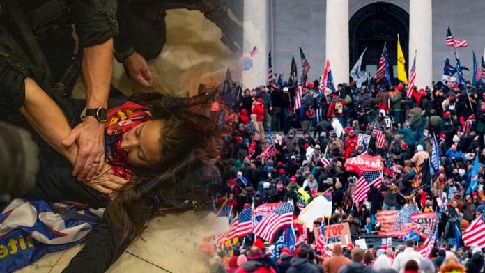 Captan el momento en el que le disparan a simpatizante de Trump dentro del Capitolio, luego que este fuera asaltado el pasado miércoles