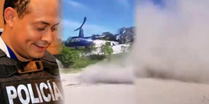 Alcalde de Ilopango usa dinero del FODES para visitar a comunidad humilde en las Cañas levantando mega columna de polvo con su llegada en helicóptero