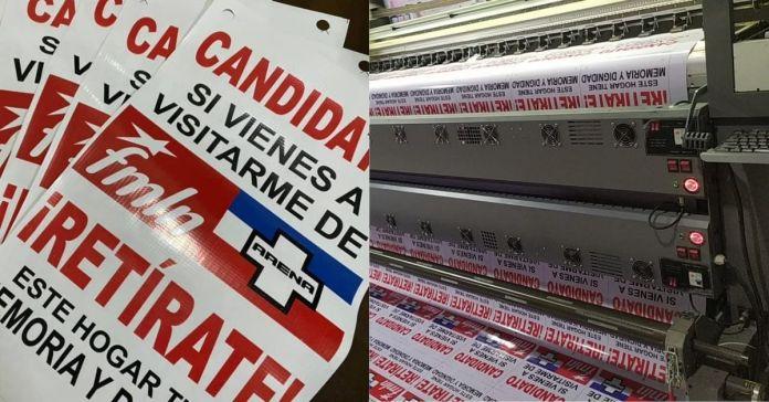 Salvadoreños continúan haciendo miles de carteles para ponerlos en sus puertas y así dejar claro a los mismos de siempre que no recibirán sus votos
