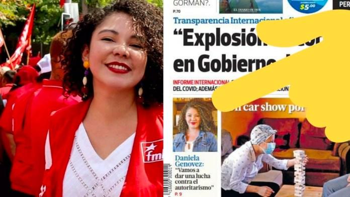 Daniela Genovez es titular en el diario de hoy la La candidata del FMLN ahora goza de popularidad en los medios derechistas
