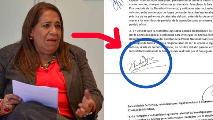 Nayib Bukele desenmascara a Nidia Diaz, quien firmo para iniciar el golpe de estado hacia el presidente el pasado 9 de febrero