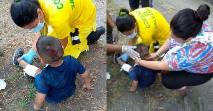 Menor de 4 años de edad junto a su madre sufren aparatoso accidente tras ser arrollados por una moto cerca del mercado La Tiendona