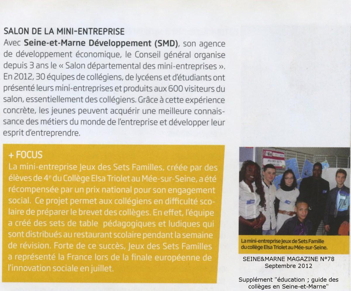 Les élèves de la DP6 2011 – 2012 dans le Seine et Marne magazine