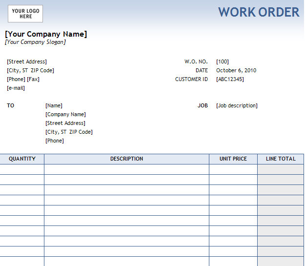 Work Order Template For Free Download And Use