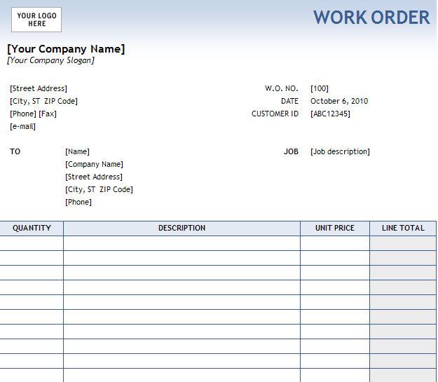 Nice Work Order Forms