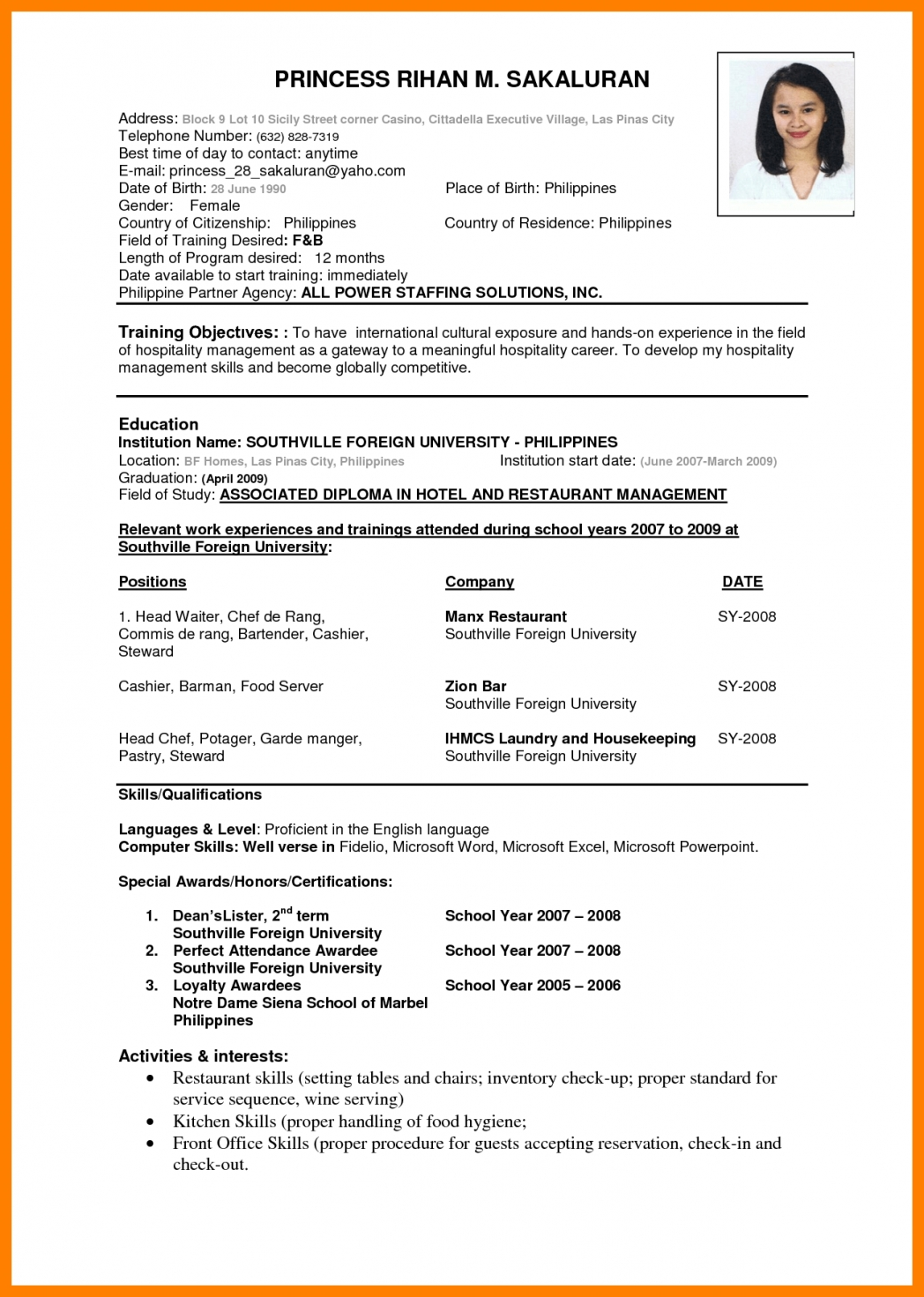 Resume Format For Overseas Job Cv Format Free Download Elsevier Social Sciences
