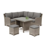 Kettler Palma Mini Corner Set Rattan With Taupe Cushions