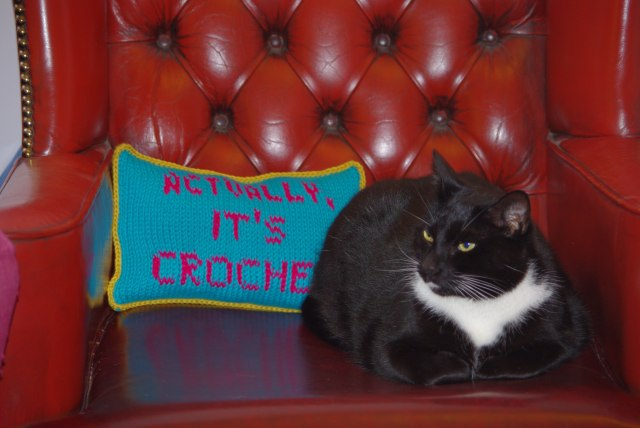 Tunisian crochet cushion with Marvin the cat