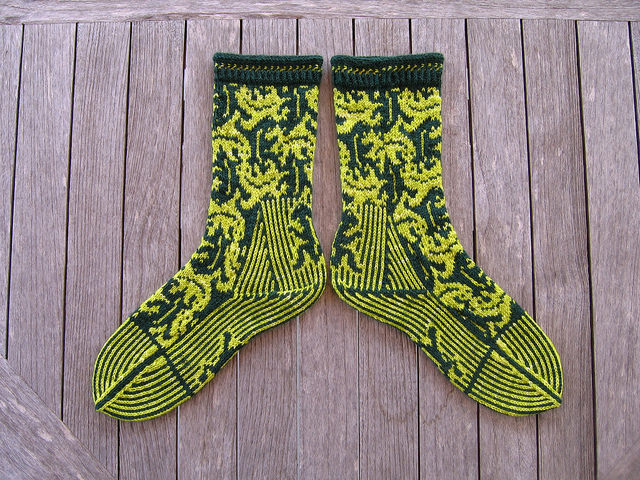 Escher lizard pattern socks