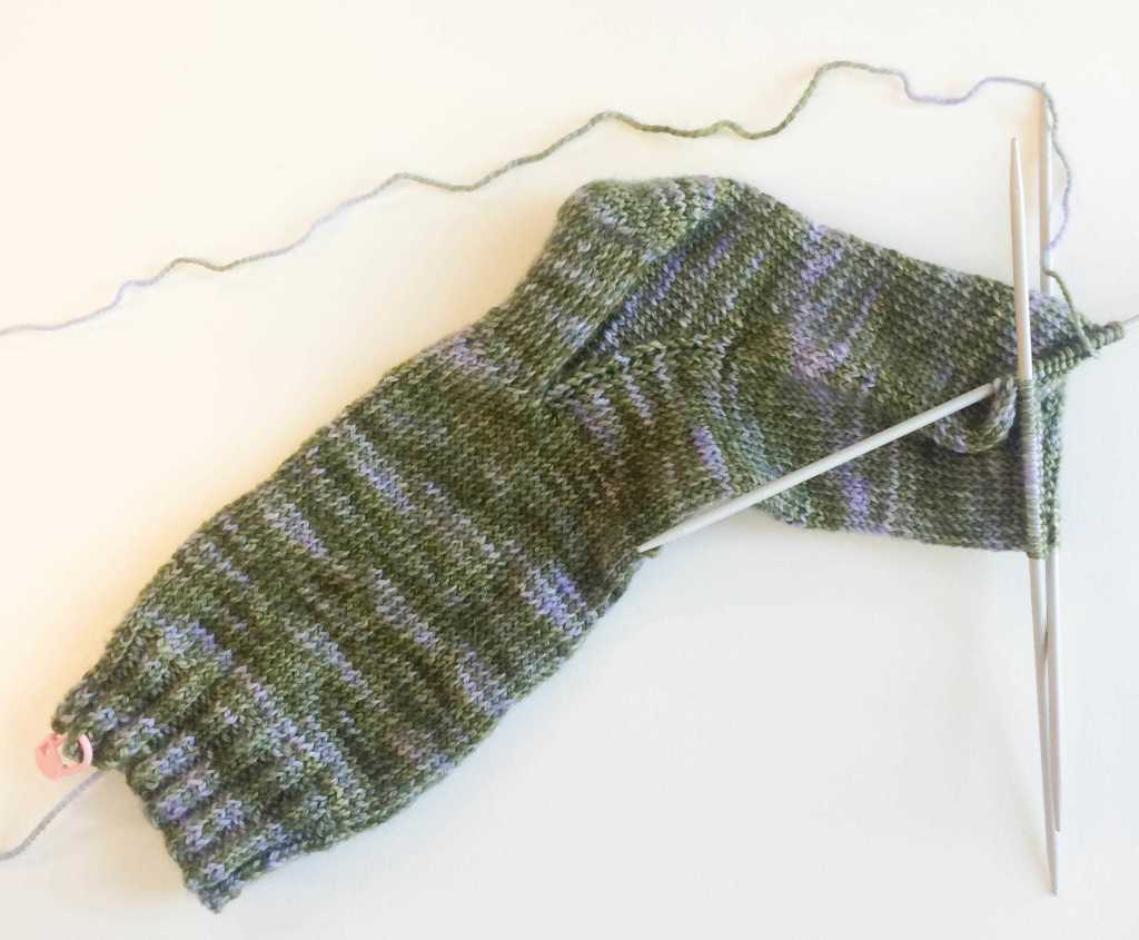 halfway through the foot sock knitting