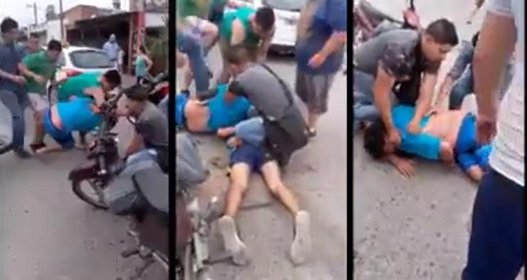 Vecinos hicieron justicia por mano propia: Atraparon y dieron una paliza a dos motochorros(VIDEO)