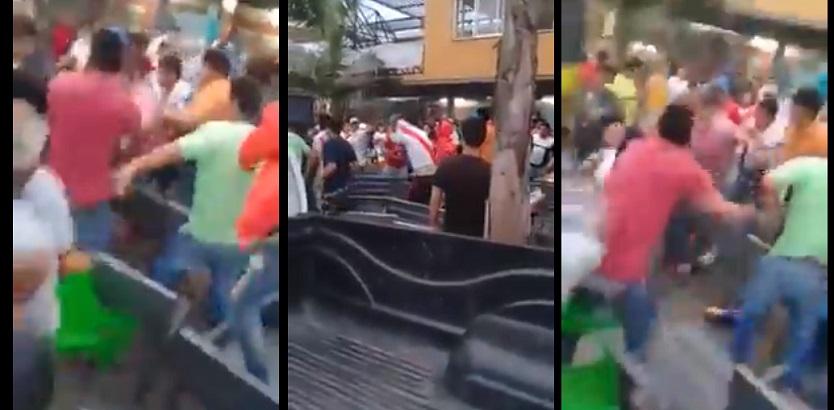 Clasico violento: Hinchas de River y Boca a las piñas en un bar(VIDEO)