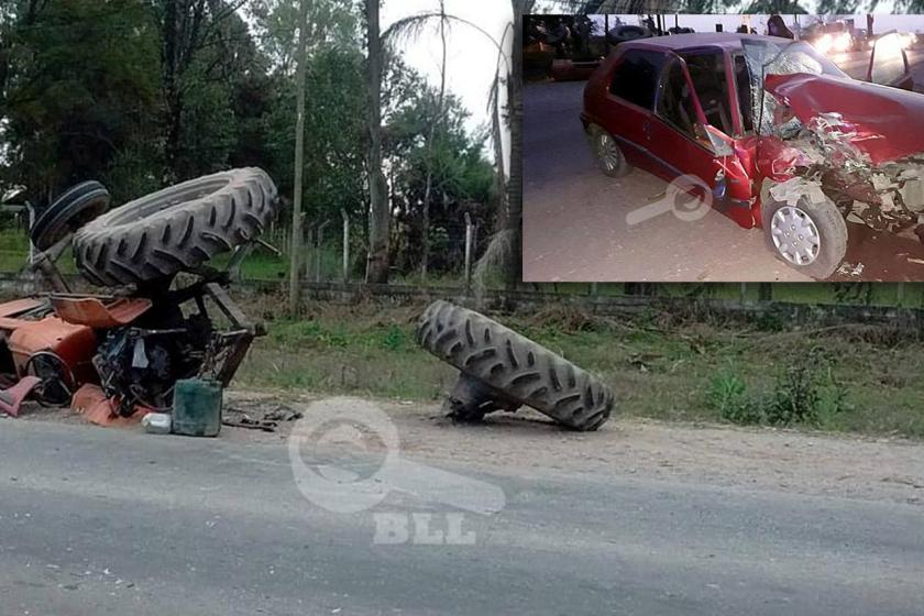 """"""" Las rutas tucumanas continuan sin controles viales"""": Auto chocó a un tractor en la ruta que une Concepción con Monteagudo"""
