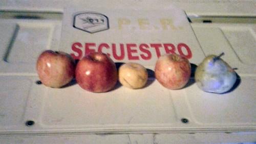 """Detienen a dos menores por robar tres manzanas, una mandarina y una pera y difunde la foto del """"botín"""""""