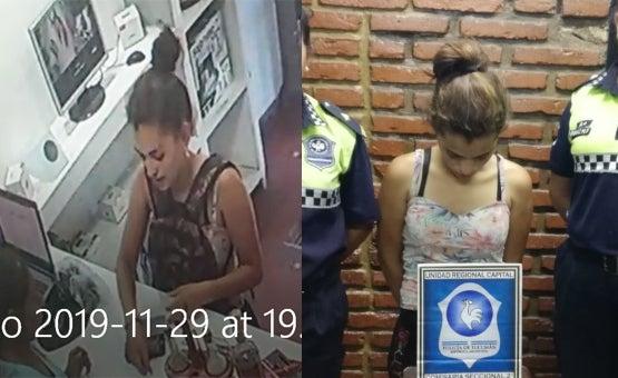 Se la vio robando en un video que se difundio en las Redes y al rato le fue a llevar comida a su novio preso en la Comisaría Segunda: quedó DETENIDA