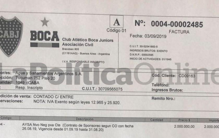 Corrupción en la era Macri: FACTURA DE $ 2 MILLONES por seis plateas de Boca para AYSA, la empresa de cloacas que dirigían Pablo Walter y otros funcionarios