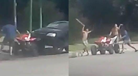 Tafí Viejo : Pelea con machetes,  piedrazos y choque de un auto a un cuatriciclo (VIDEO)