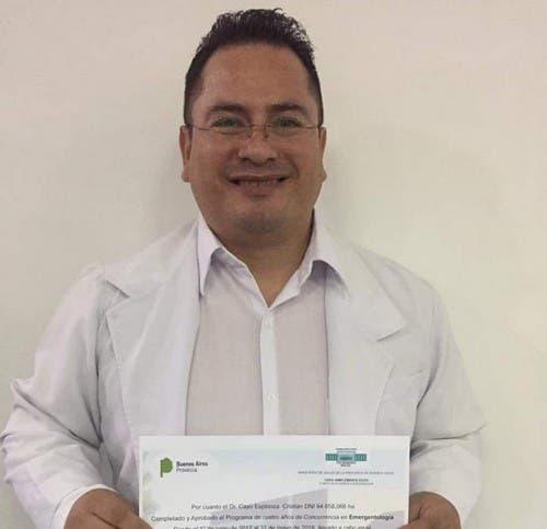 Fallecio otro médico tucumano por coronavirus, se trata del doctor Cristian Espinoza Cayo