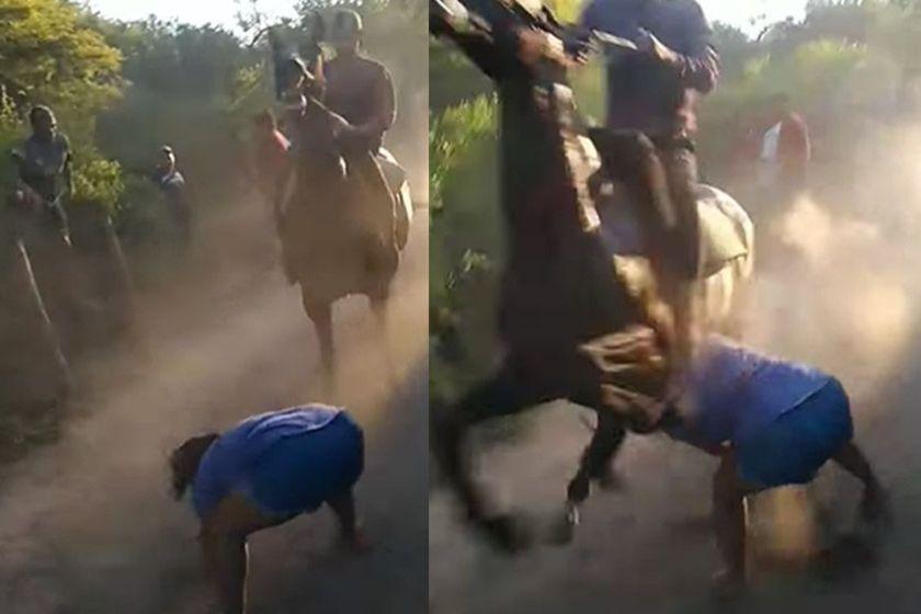 (VIDEO)Una joven embarazada en grave estado tras ser atropellada por un caballo en una carrera cuadrera(VIDEO)