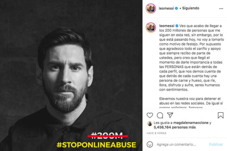 Messi festejo los 200 millones de seguidores en Instagram con un mensaje contra el abuso