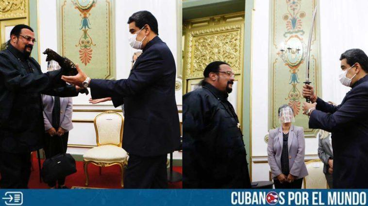 El actor Steven Seagal le regaló una espada de samurái al  presidente Maduro de Venezuela