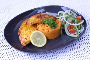 Gemarineerde kip met zoete aardappelpuree