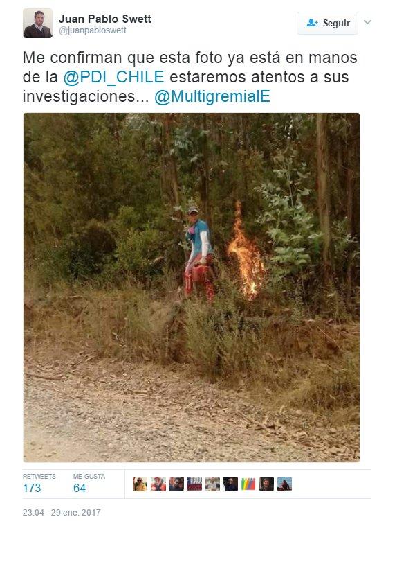 """Importantes actores del empresariado se hicieron eco de las informaciones que vincularon los incendios con el """"terrorismo mapuche""""."""