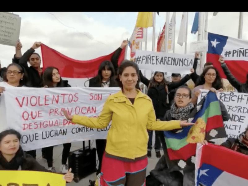 Chilenos en el extranjero apoyan las protestas