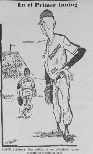 BOSCH Y BORDAS EN CARICATURA DE LA NACION, 9 ABRIL 1963