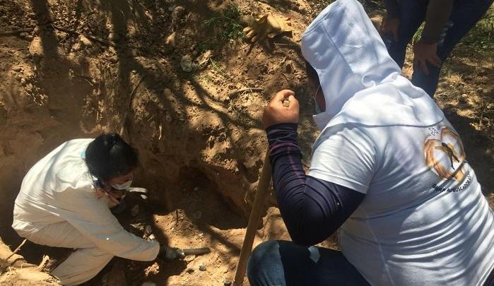 El grupo de activistas conformado por 30 mujeres acompañadas por 10 peritos y médicos forenses peinaron 30.000 metros cuadrados de terreno. Foto cortesía