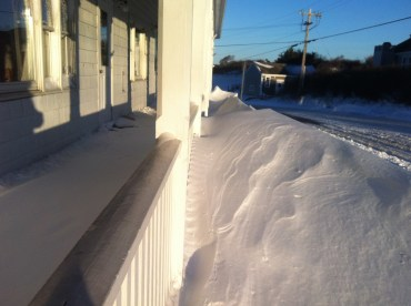 Nearly as much snow inside the rail as outside