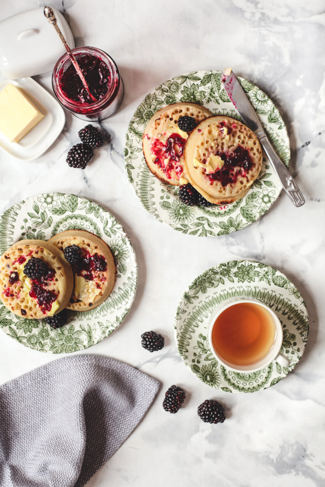 Crumpets with Blackberry & Apple Jam
