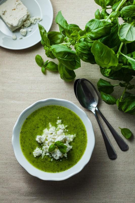 Ottolenghi Courgette Pea & Basil Soup with Feta