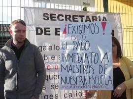 Profesores de la Secundaria 5 de Ciudad Guzmán hacen paro de labores por falta de pago