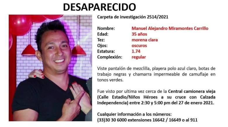 Piden apoyo para localizar a Manuel Alejandro Miramontes, desaparecido en Guadalajara