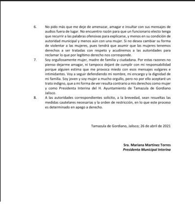 Comunicado presidenta interina Tamazula parte 2