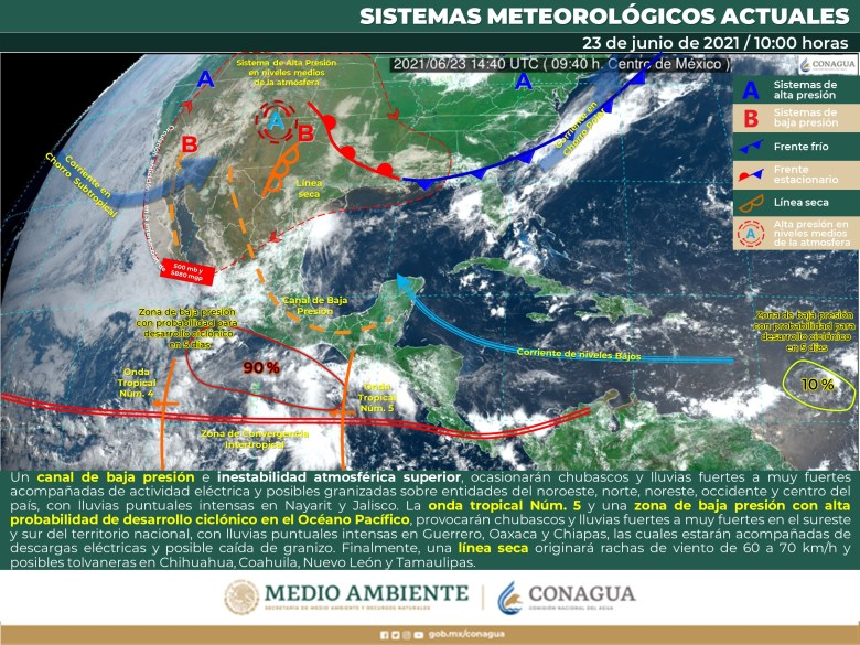 Lluvias continuarán en Jalisco, zona de baja presión podría convertirse en ciclón al cierre de semana