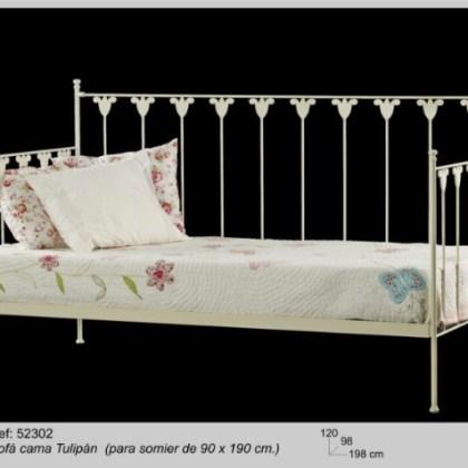 02852302 Sofá - cama de forja Tulipanes