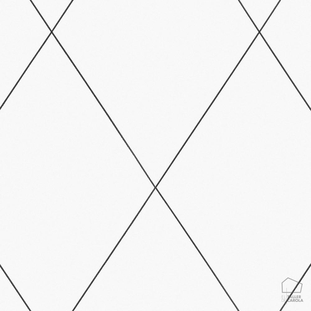 Papel Pintado ROB Geomtrico Rombos Blanco  El Taller de