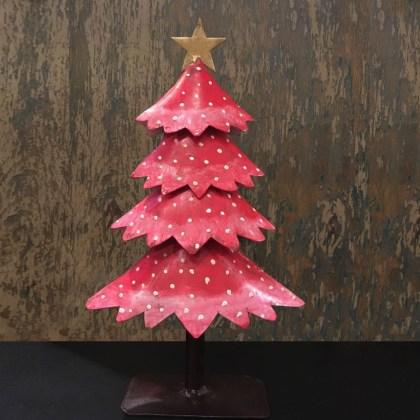 Adorno Navidad Arbolito Rojo Metal