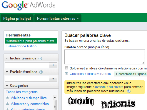 Investigar las keywords de nuestro sitio web con Google Ad Words