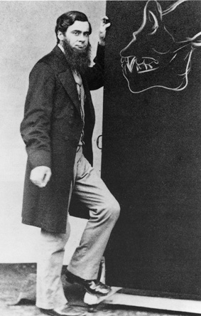 Thomas Huxley junto a gorila