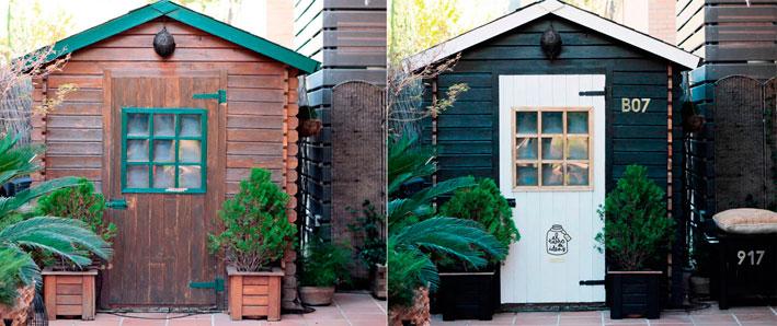 caseta de jardín muebles decoración inspiración ideas pintura estilo nórdico hazlo tu mismo diy proyecto bricolaje