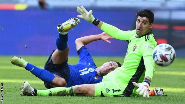 Thibaut Courtois (right) in action for Belgium against Italy