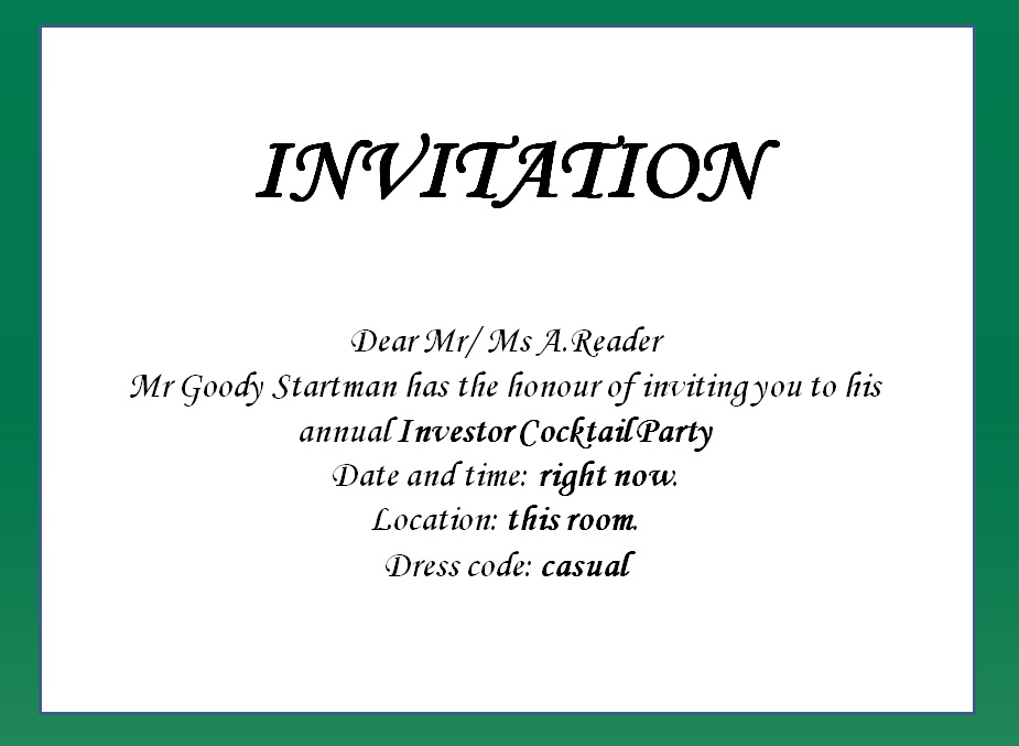 formal invitation for a birthday party