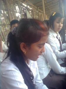 Students studying in old classroom setting